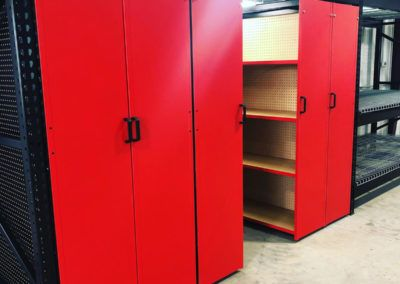 Levrack 10-foot with red cabinets